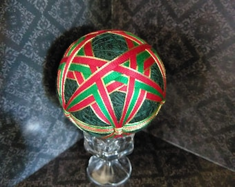 Japanese Temari Ball, decorative ball - Red, Green and Gold Christmas colors