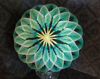 Handmade Japanese Temari Ball- Chrysanthemum design, decorative ball in greens and blues.