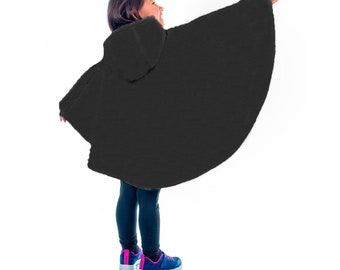 Safe winter poncho for car bench/shell, scalable 0-6 years, warm, baby child, raincoat, hood, car seat, plain black