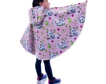 Safe winter poncho for car bench/shell, scalable 0-6 years, baby child, raincoat, hood, car seat, pandas