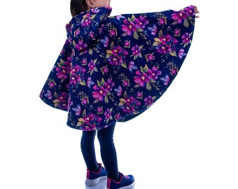 Safe winter poncho for car bench/shell, scalable 0-6 years, warm, baby child, raincoat, hood, car seat, flowers
