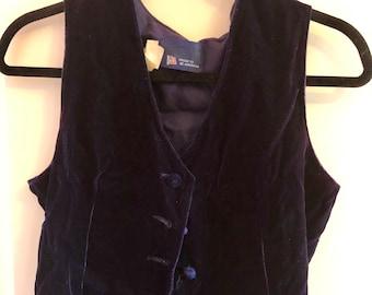 90s dark purple velvet vest