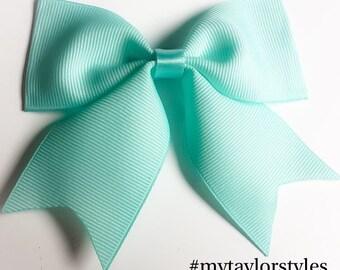 Aqua blue boutique hair bow/ light blue boutique bow/ infant hair clip