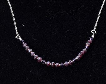 Necklace, garnet, sterling, simple, delicate