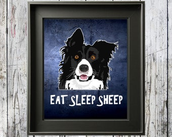 Funny I Love Border Collie - Downloadable Border Collie Print Wall Art for Herding Dog Lovers - I Heart Border Collies - Sheep Herding Dog