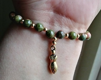 Unakite goddess bracelet