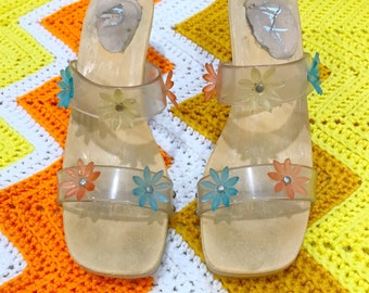 WOW RARE Vintage 70's Made in Italy Chunky Heel