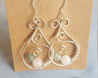 Rose Quartz and Jade Wire Wrapped Earrings