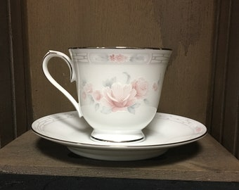 Noritake Carthage #3330 Fine Porcelain Footed Tea Cup & Saucer