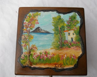 Jewellery box in wood with hand painted lava stone insert
