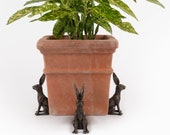 Large Sitting Hare Potty Feet Plant Pot Feet - Antique Bronze Coloured Large Sitting Hare Plant Pot Risers - Gift Boxed Set Of 3
