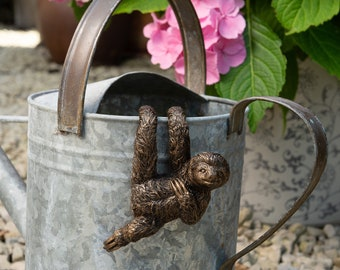 Three Toed Sloth Pot Buddy Pot Hanger Bronze Coloured Sloth Indoor Planter Gift Boxed Pot Buddies. Sloth Ornament Garden and Home