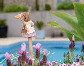 Cane Companion Cane Toppers - Coloured Beatrix Potter Hunca Munca Stake Topper. Garden Ornament. Yard Art