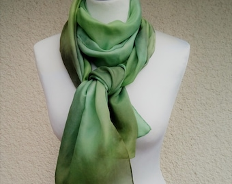 WOMEN SCARF, Green Silk Scarf, Silk Scarf, Hand Painted Scarf, Elegant Scarf, Long Scarf, Holiday Gift, Gift For Her, Gift For Wife, Chic