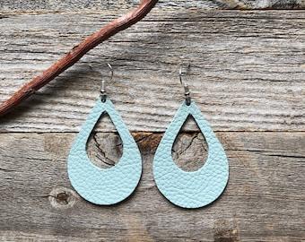 Robin's Egg Blue Leather Earrings