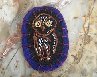 Handmade Embroidered Owl Pin