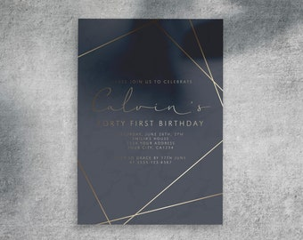 Custom Adult Men Birthday Party Invitation, Personalized Digital Printable 30th 40th 50th 60th Birthday Invite DIY