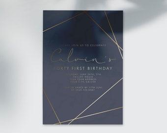 Custom Adult Men Birthday Party Invitation Personalized Digital Printable 30th 40th 50th 60th Invite DIY