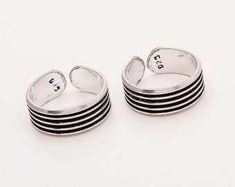 Black Striped 925 Sterling Silver Adjustable Toe Ring Band Vintage Look Work Fine Jewelry Handmade Ethnic Christmas Women Wear Jewelry Gifts