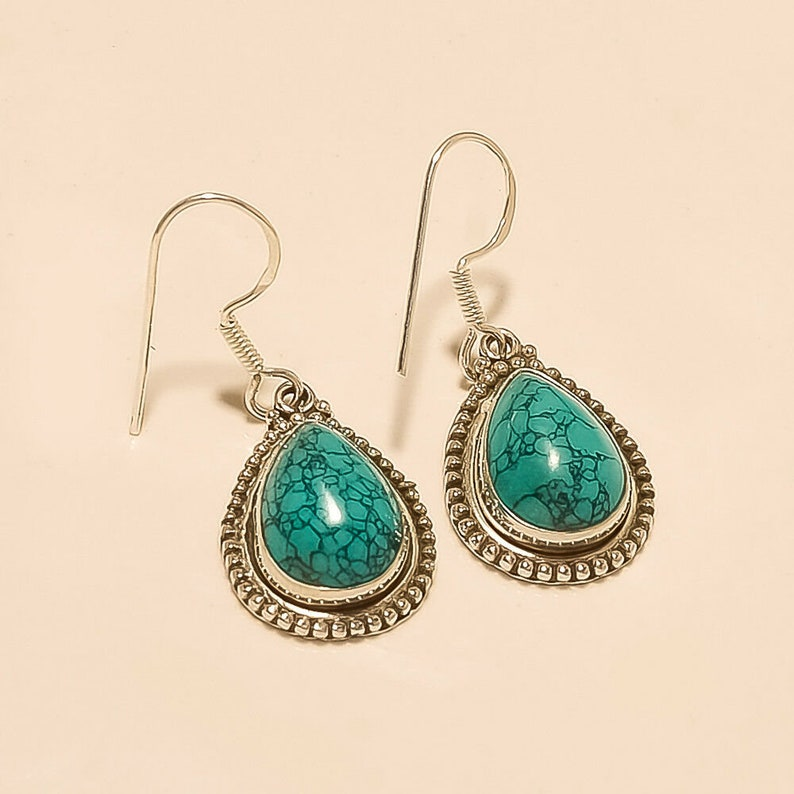 Natural Afghan Blue Turquoise Earrings 925 Sterling Silver Fine Women Jewelry Handmade Designer Weeding Anniversary Mothers Gifts Jewelry AA