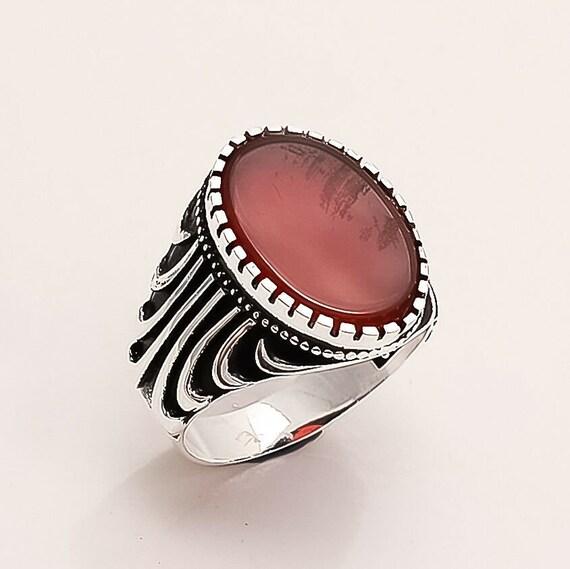 Antike geschnitzt Istanbul rot Onyx osmanischen Herren Ring 925 Sterling Silber Schmuck Statement Schmuck handgemachte Designer Verlobung Geschenke