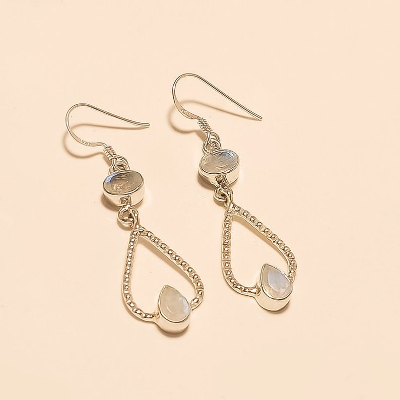 Srilanka Natural Blue Flame Moonstone Earrings 925 Sterling Silver Dangle Drop Jewelry Handmade Designer Wire Work Valentine Gifts Jewelry A