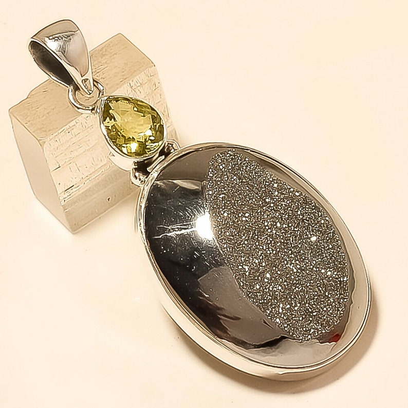 Natural Russian Glister Black Druzy Pendant 925 Sterling Silver Christmas Fine Jewelry Eid Gift Special Designer Wedding Father Jewelry Gift