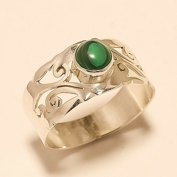 MALACHITE Ring 925 Sterling silver ring,malachite  gemstone,handmade design,boho ring jewelry