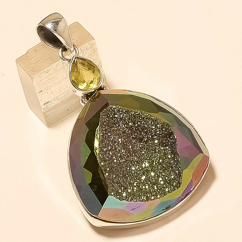 Natural Russian Titanium Druzy Pendant 925 Sterling Silver Christmas Fine Jewelry Eid Gift Special Designer Unisex Wedding Day Jewelry Gifts