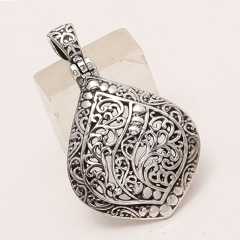 925 Sterling Silver Filigree Leaf Pendant Healing Yoga Reiki Fine Jewelry Handmade Floral Carved Designer Vintage Christmas Jewelry Gifts AA