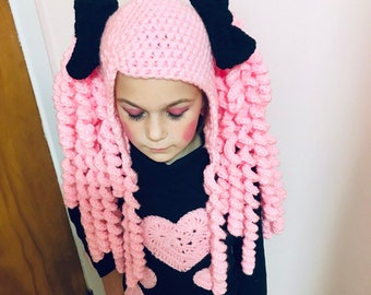 d4f7113c7f8 Crochet hat with pigtails  wig   cosplay   halloween