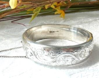 Vintage Engraved Sterling Silver Gold-Washed Snap Bangle