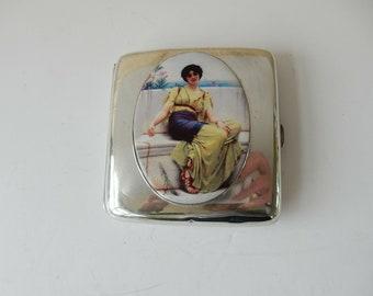 900edbccbd2 1920s Antique Silver Enamel Roman Empire Lady Cigarette Case Lawrence Alma  Tadema
