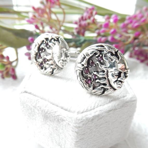 Sterling Silver Ruby Sun Moon Astrology Cufflinks