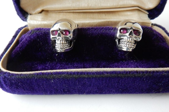 Sterling Silver Ruby Skull Skeleton Stud Earrings