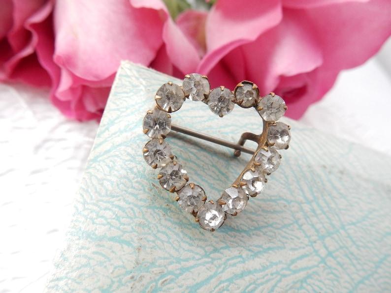 Vintage Heart Brooch Clear Rhinestone Romantic Jewelery Vintage Costume Jewelry
