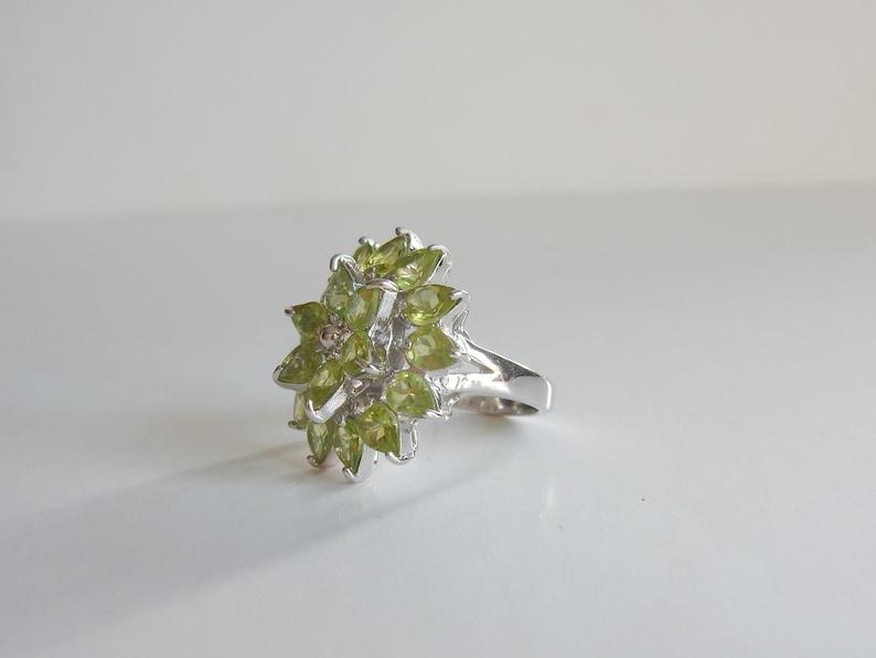 Green Peridot Ring Solid Silver Ring *9grams
