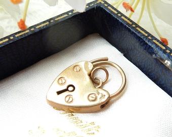 Antique 9 Carat Gold Heart Padlock Catch Charm Pendant