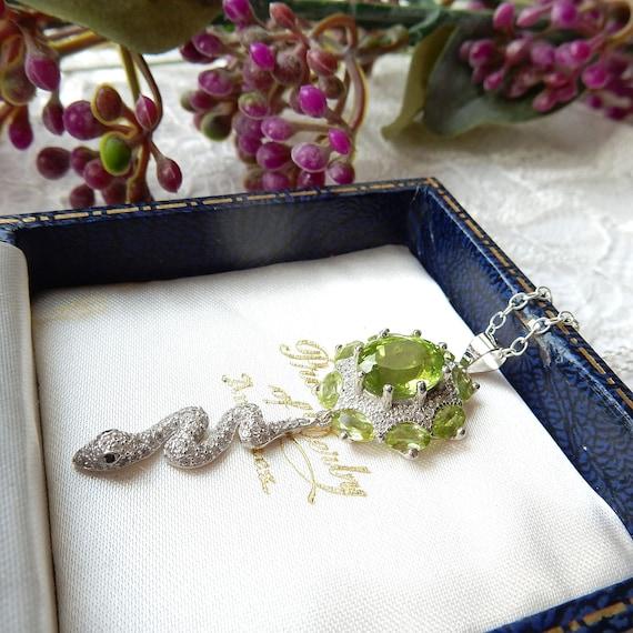 Sterling Silver Peridot CZ Snake Pendant Necklace