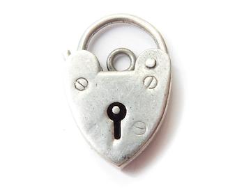 Antique Sterling Silver Heart Padlock Catch Charm Pendant