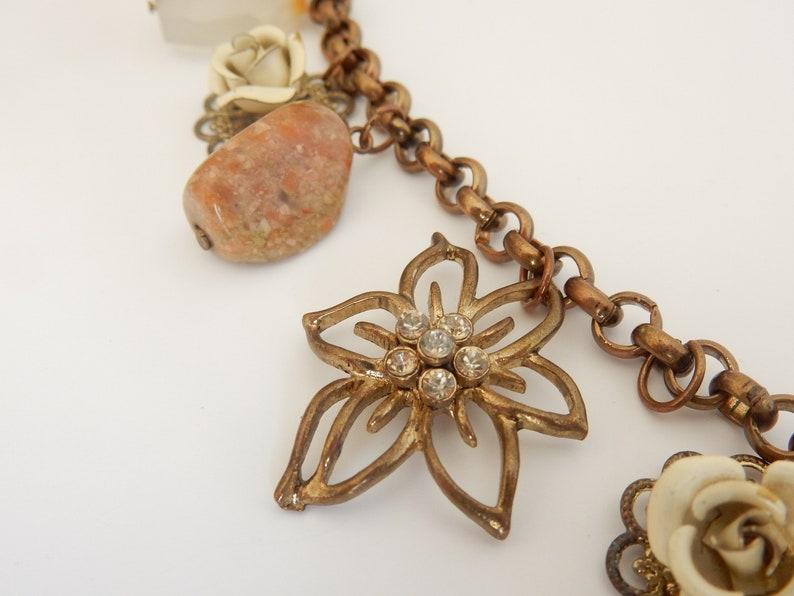Vintage Natural Quartz Flower Charm Bracelet