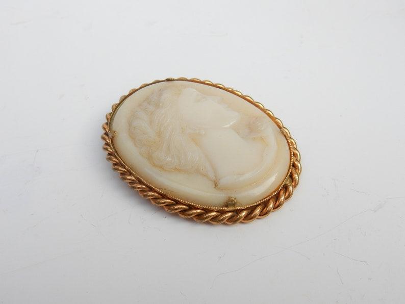 Vintage Milk Glass Cameo Brooch Hand Carved