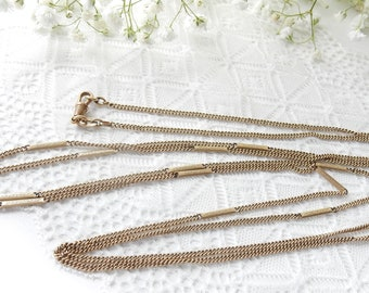 """Antique Victorian Long Rolled Gold Guard Curb Chain Necklace 60"""" Length"""