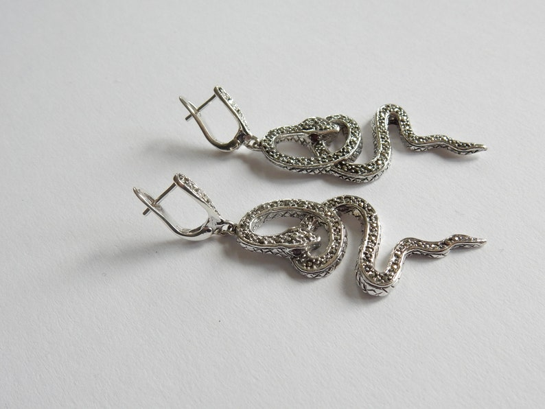 Sterling Silver Twisted Serpent Snake Marcasite Earrings