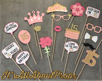 33 Funny Quinceañera Photo Booth Props Gold and Black ...