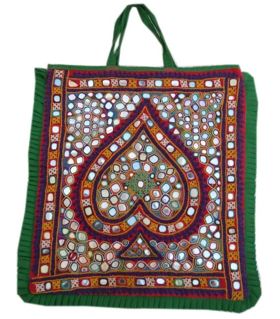 Handmade Kutchi Hand Bag Vintage Embroidered Tote