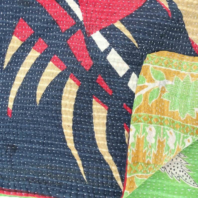 Handmade Indian Quilt Vintage Bohemian Reversible Blanket