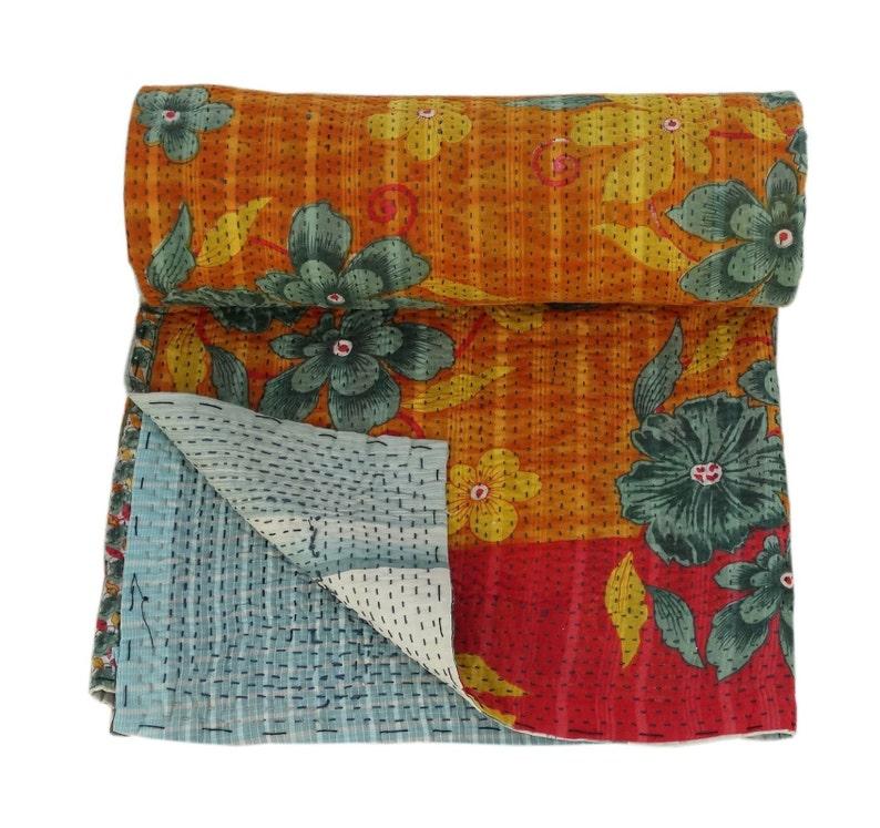 Indian Handmade Quilt Vintage White Kantha Single Bedspread Throw Cotton Blanket