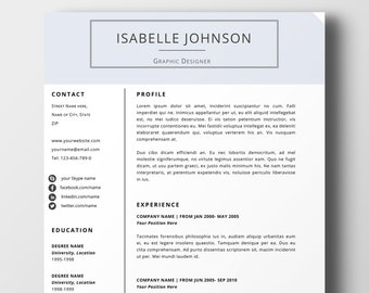Resume Template | CV | Blue Resume Template | Word Resume Template |  Modern Resume Template | Cover Letter Template | Cover Letter Resume