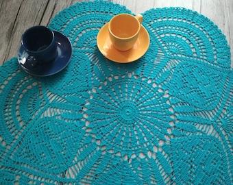 Big blue crochet doily, crochet doily